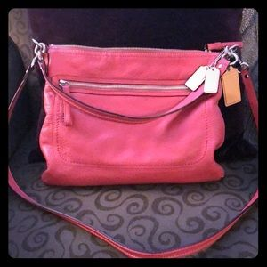 Pink leather Coach crossbody